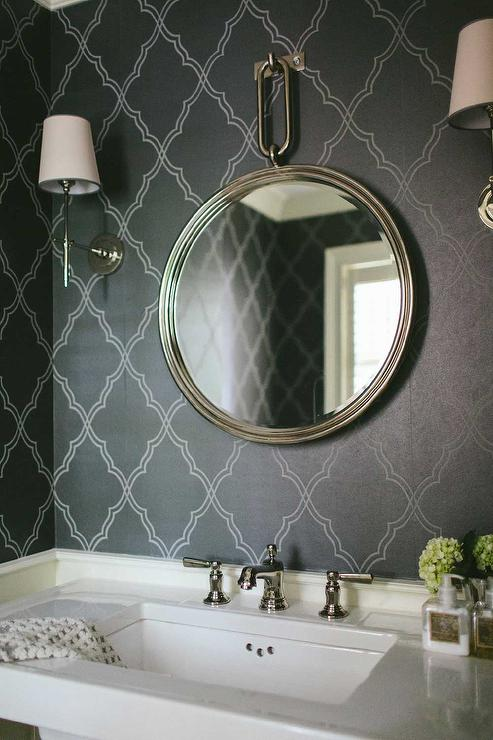 Laundry Room Lighting Powder Room With Black Moroccan Wallpaper - Transitional