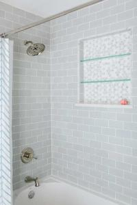 Shower with Gray Subway Tiles - Transitional - Bathroom