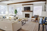 Transitional Living Room with Wood Ceiling Beams ...
