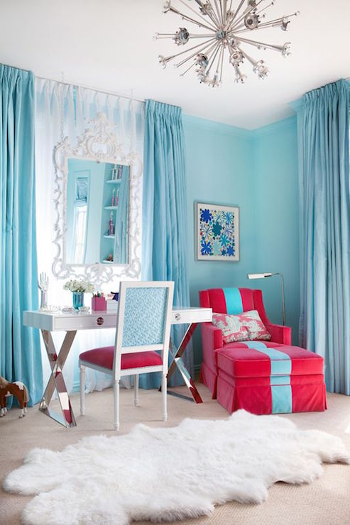 Cute Aqua Green Wallpaper Kids Room With Turquoise Curtains Contemporary Girl S Room