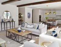 White Sofa with navy Pillows - Transitional - Living Room
