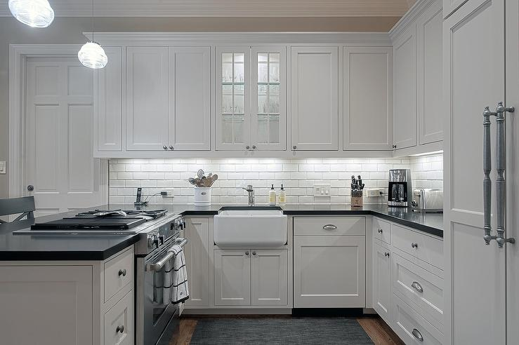 small shaped kitchen features white shaker cabinets paired stylish table eat small kitchen ideas decoholic