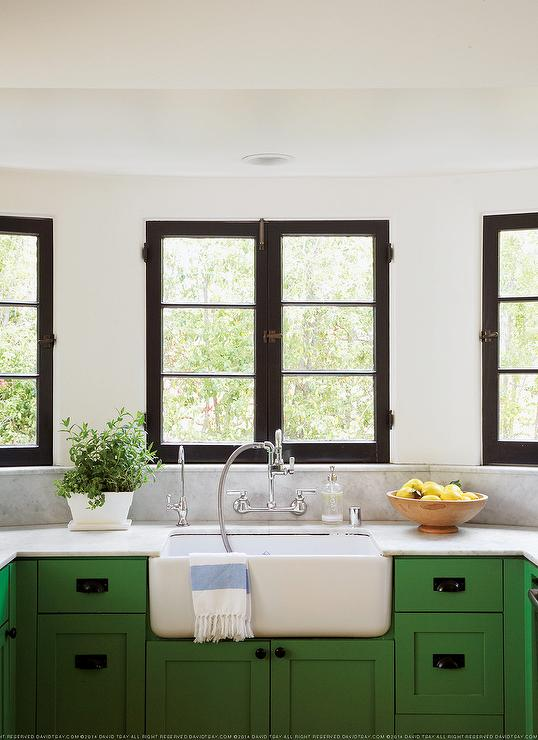 amazing shaped kitchen boasts kelly green cabinets paired white kitchen backsplash green couchable