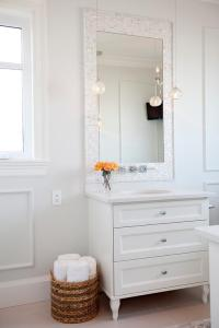 Mother of Pearl Tiled Mirror - Transitional - Bathroom ...
