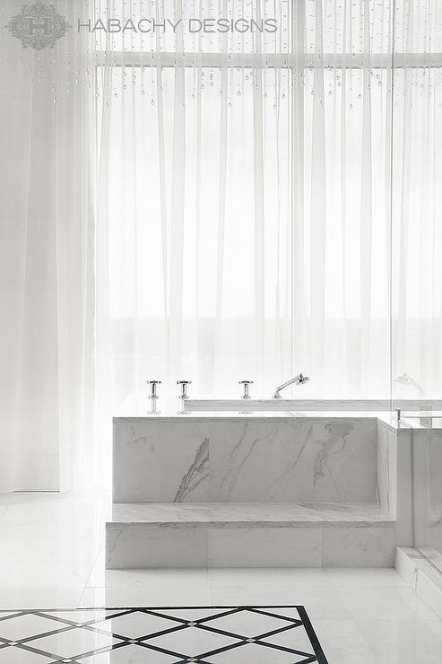 Girl And Marble Wallpaper Marble Steps To Tub Contemporary Bathroom