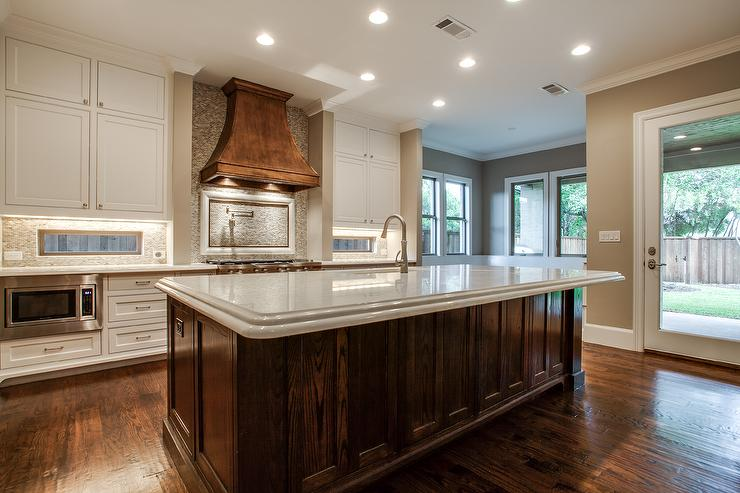 kitchen copper hood transitional kitchen glass tile backsplash slightly glitzier alternative