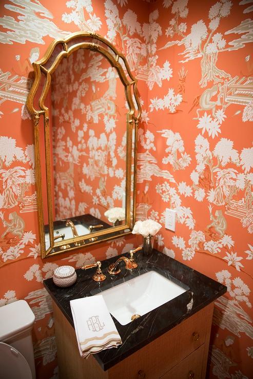 Black And White Wallpaper Living Room Orange Chinoiserie Powder Rooms Asian Bathroom