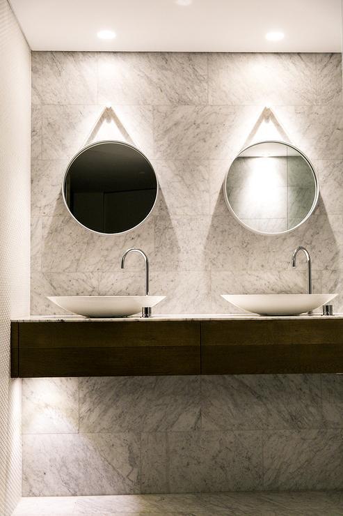 Hanging Girl Wallpaper Floating Bathroom Vanity With Bowls Sinks Modern Bathroom