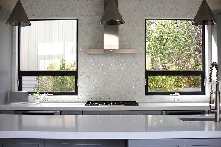 tile backsplash kitchen window kitchen geometric marble tile glass tile backsplash slightly glitzier alternative