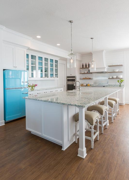 Long Kitchen Island Turquoise Recycled Glass Countertops - Cottage - Kitchen