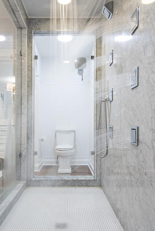 The Girl Next Door Wallpaper Walk Through Showers Transitional Bathroom