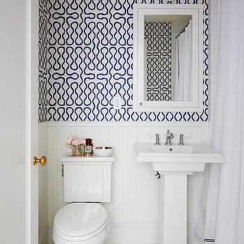 White Shower Curtain With Navy Trim Design Ideas