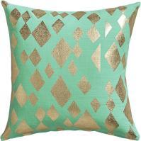 Geometric Gold Foil Aqua Pillow