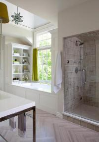 Chartreuse Cafe Curtains - Transitional - Bathroom