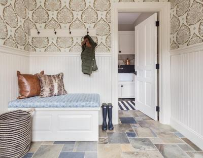 Mudroom with Wallpaper and Beaboard Wainscoting - Cottage - Laundry Room