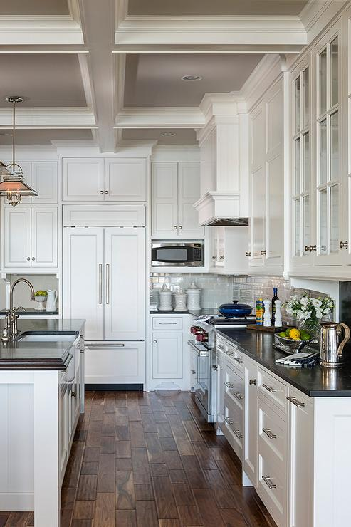 Ideas For Lighting Over Kitchen Island Gray Painted Coffer Ceiling - Cottage - Kitchen