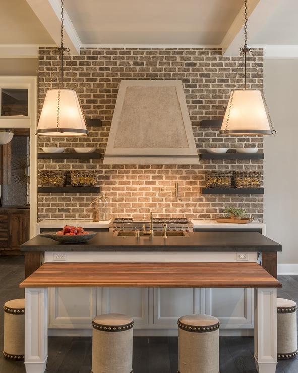 kitchen brick backsplash cottage kitchen elegant brick backsplash kitchen presented soft colors