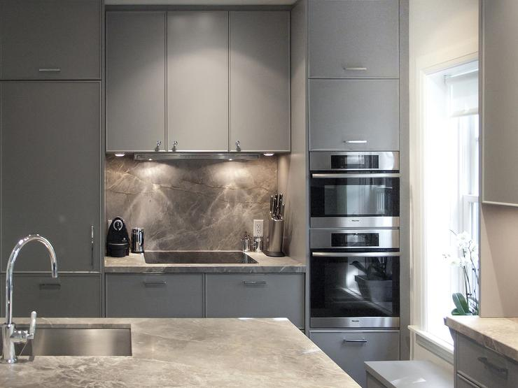 Gray Flat Front Kitchen Cabinets - Contemporary - Kitchen