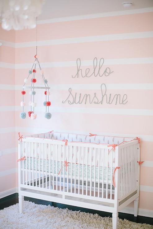 Modern Nursery Wallpaper Girl White And Pink Striped Nursery Walls Transitional Nursery
