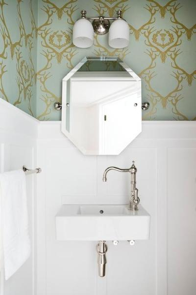 Powder Room with Barneby Gates Deer Damask Wallpaper and ...