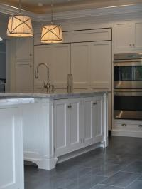 Kitchen with Gray Staggered Tile Floor - Transitional ...
