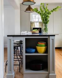 Grey Kitchen Island with End Shelves - Transitional - Kitchen