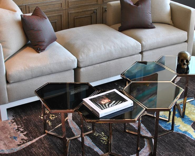 Gray Velvet Tete a Tete Settee - Transitional - Living Room - contemporary tables for living