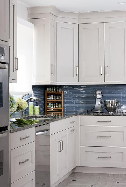 white blue kitchen features white cabinets adorned satin white cabinets grey backsplash kitchen subway tile outlet