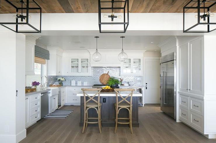 kitchen blue brick tile backsplash cottage kitchen kitchen rich brown cabinetry mosaic tile backsplash hgtv