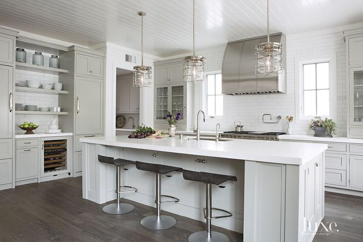 Kitchen with Nautical Cage Pendants