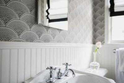 Black and White Bathroom Wallpaper - Transitional - Bathroom