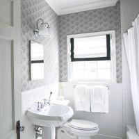 Black and White Bathroom Wallpaper - Transitional - Bathroom