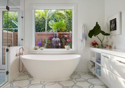 Zen Bathroom with Buddha - Transitional - Bathroom