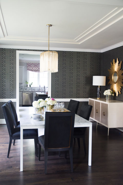 Dining Room Wallpaper With Chair Rail Marble Parsons Dining Table - Contemporary - Dining Room