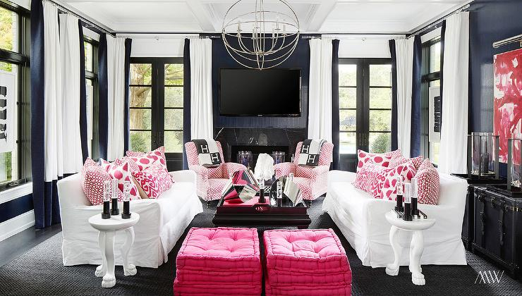 Sofas Facing Each Other Decor Pink And Navy Rooms - Contemporary - Living Room