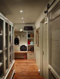 Mudroom with Chicken Wire Cabinets, Cottage, Laundry Room