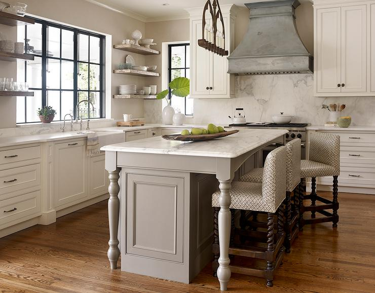 White Wooden Kitchen Island And Kitchen Cabinet ...