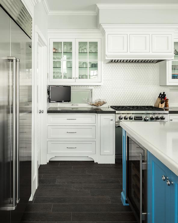 white turquoise kitchen features turquoise center island fitted deep rich colors makeover marseille collection
