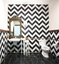 Powder Room with Black and White Chevron Tiles ...