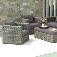 Upton Home Brixton Gray Outdoor Wicker Chair and Ottoman ...