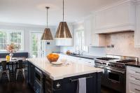 Blue Kitchen Island with White Quartz Countertop ...