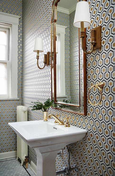 Antique Brass Kitchen Faucet Hicks Hexagon Wallpaper In Powder Room - Transitional