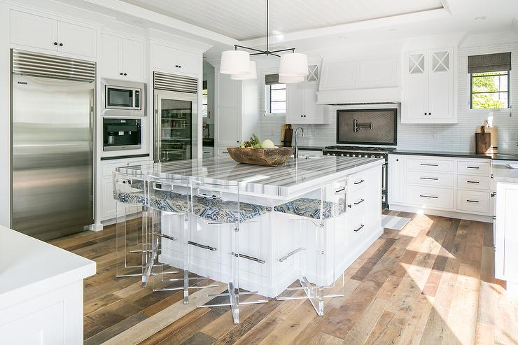 Kitchen Island With Cooktop And Prep Sink Gray Striped Marble Countertops - Transitional - Kitchen
