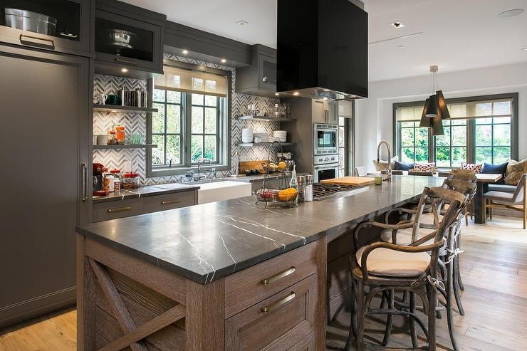 Kitchen Islands With Storage And Seating Long Kitchen Island With Cooktop And Hood - Contemporary
