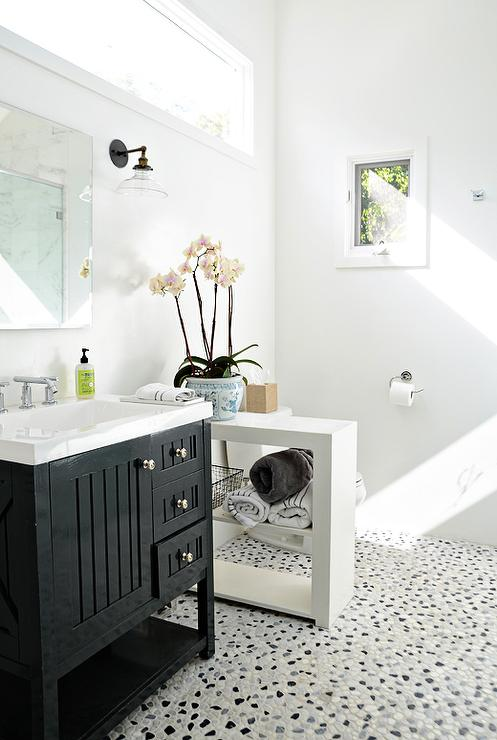 Girl Wallpaper Black And White Seal Harbor 30 In Vanity Transitional Bathroom