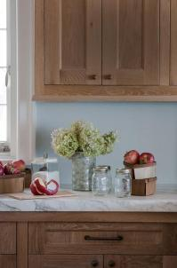 Brown Kitchen Cabinets with Blue Walls - Transitional ...