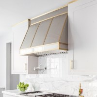 Stainless Steel Kitchen Hood with Brass Trim ...