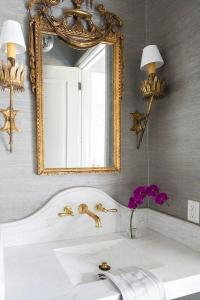 Gray and Gold Powder Room Design - Transitional - Bathroom
