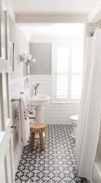 Black and White Bathroom Floor Tiles - Transitional ...