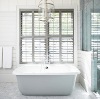 Gray Plantation Shutters - Cottage - Bathroom